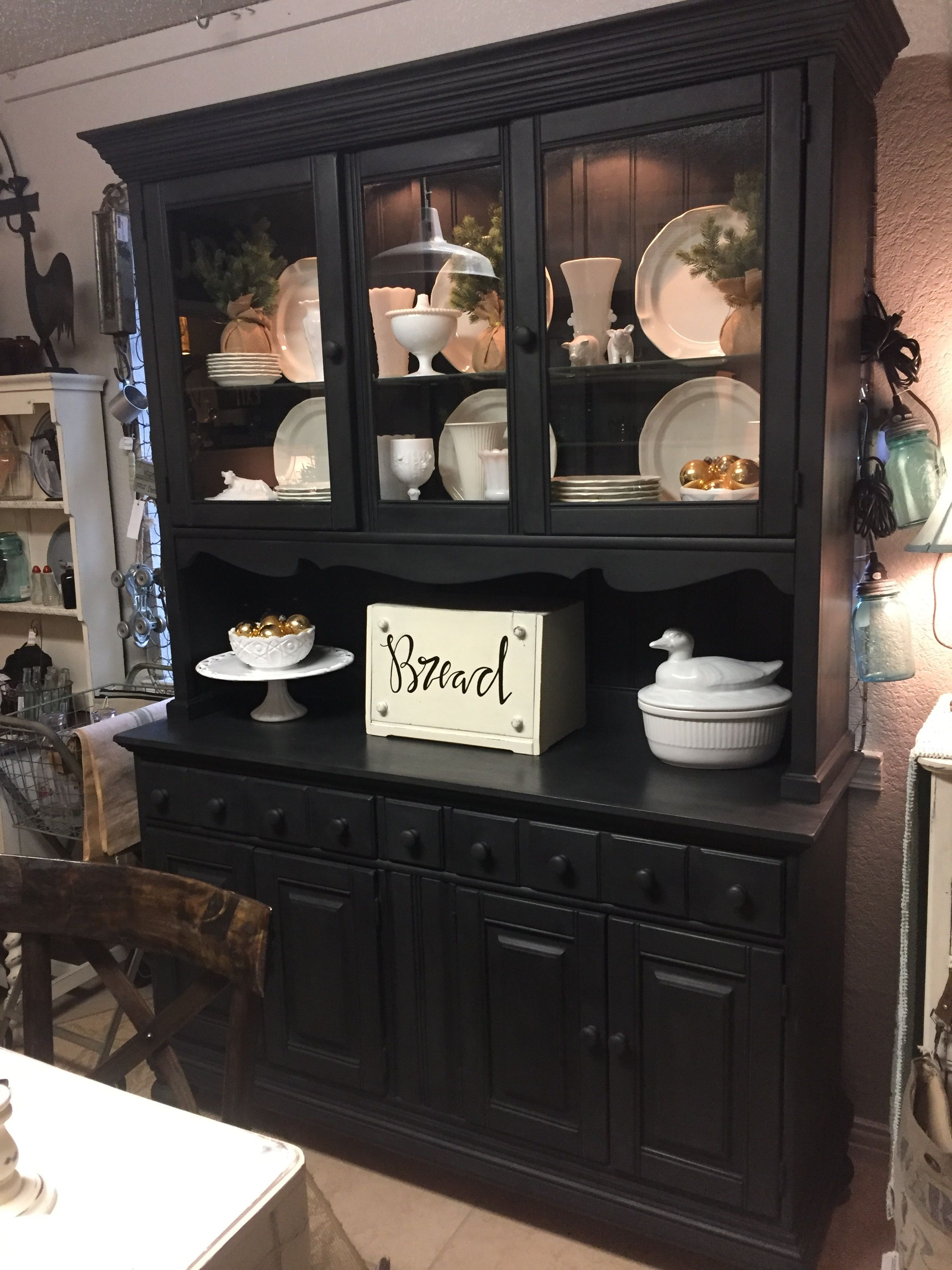 Farmhouse Hutch Painted With Chalk Paint By Annie Sloan, Graphite