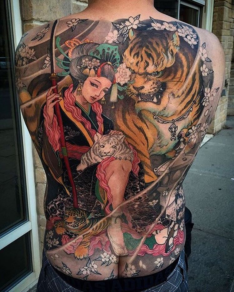 f31262084296d Japanese back tattoo by @tristen_chronicink. #japaneseink #japanesetattoo  #irezumi #tebori #newschool #newschooltattoo #colortattoo #colorfultattoo  ...