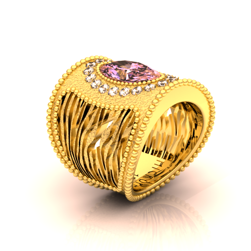 CHIC 'ZOU ZOU' COCKTAIL RING  18K Gold, Diamonds, Amethyst art deco inspired ring.