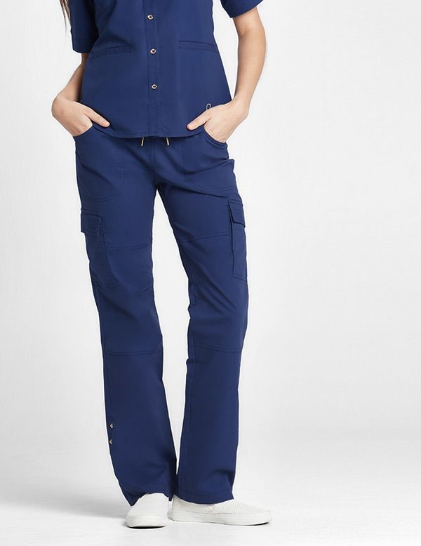 9988893106a The Slouchy Cargo Pant in Estate Navy Blue is a contemporary addition to  women's medical scrub outfits. Shop Jaanuu for scrubs, lab coats and other  medical ...