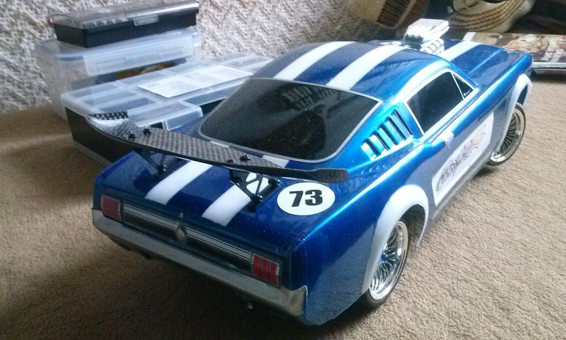 Tamiya TT01e chassis with Matrixline Mustang body.