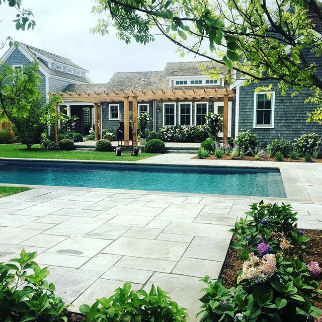 Natural Cleft Bluestone Patio Pool. #nantucket #landscaping #pools # Hardscaping #stonework