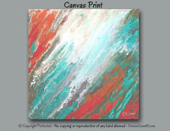 Coral & aqua, Wall art Large, Abstract painting - Canvas ...