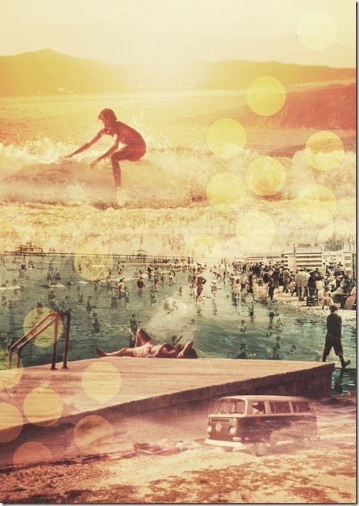 Surfing, beach, California! Vintage!
