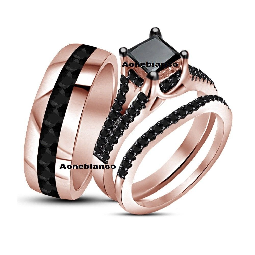 Diamond Wedding 14k Rose Gold Trio His And Her Bridal Band Engagement Ring Set Aonebi Ruby Wedding Rings Matching Wedding Rings Pink Morganite Engagement Ring