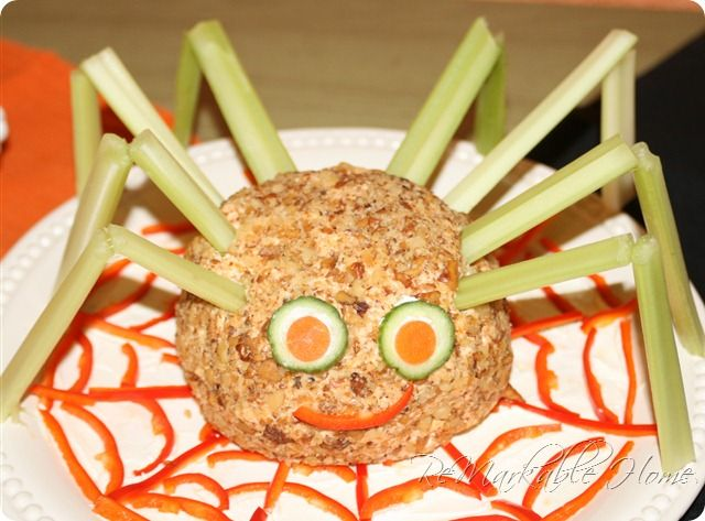 Halloween Party Food Red Peppers For The Web Celery Legs Cheese