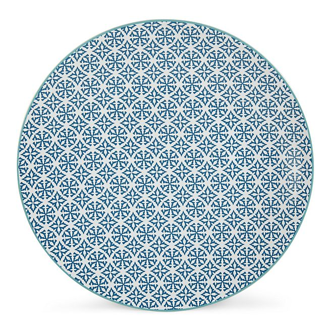 Helyse Assiette plate à motifs bleu canard