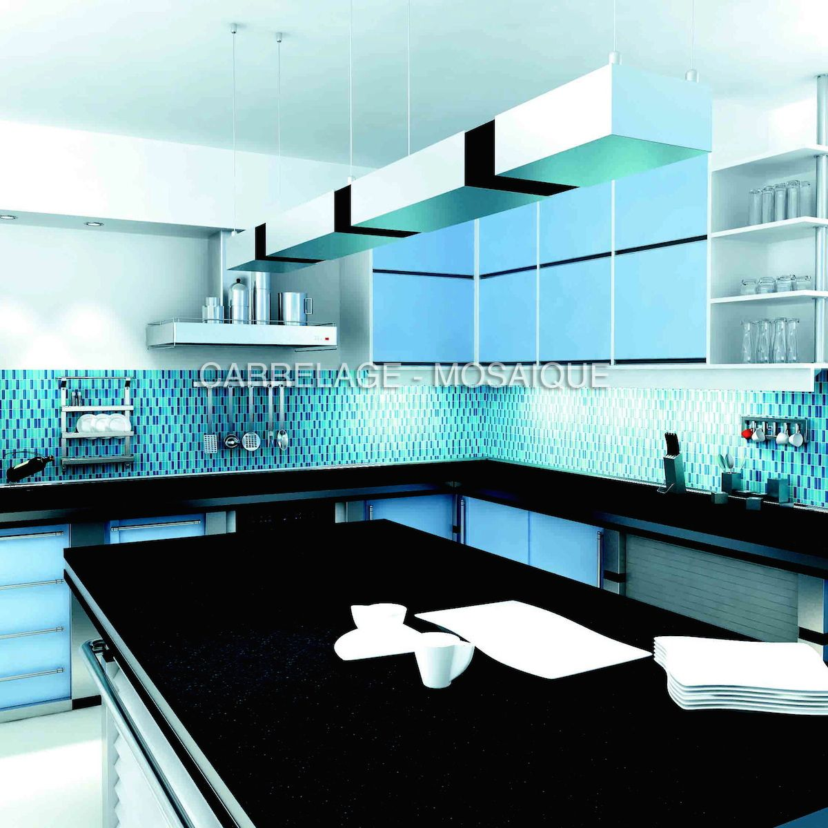 credence de cuisine en mosaique de verre modele skyrectangular