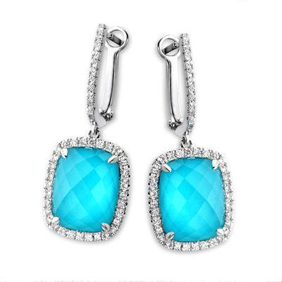 Blue /& White Topaz Ear Jackets 925 Sterling Silver Handmade Jewelry
