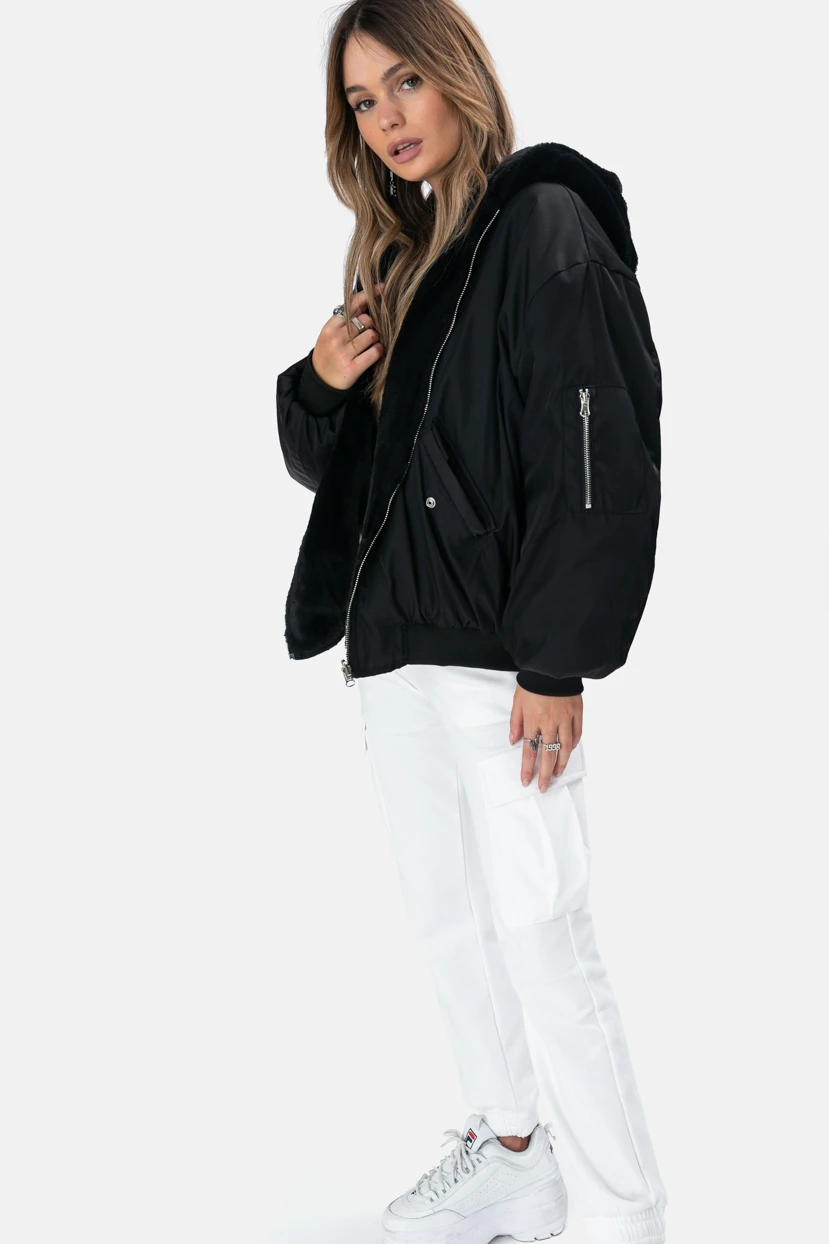 Reversible Bomber Jacket In An Over Sized Fit With The Most Plush Faux Fur Lining And Hoodie Functional Pockets Zip Fasteni Bomber Jacket Jackets How To Wear [ 1244 x 829 Pixel ]