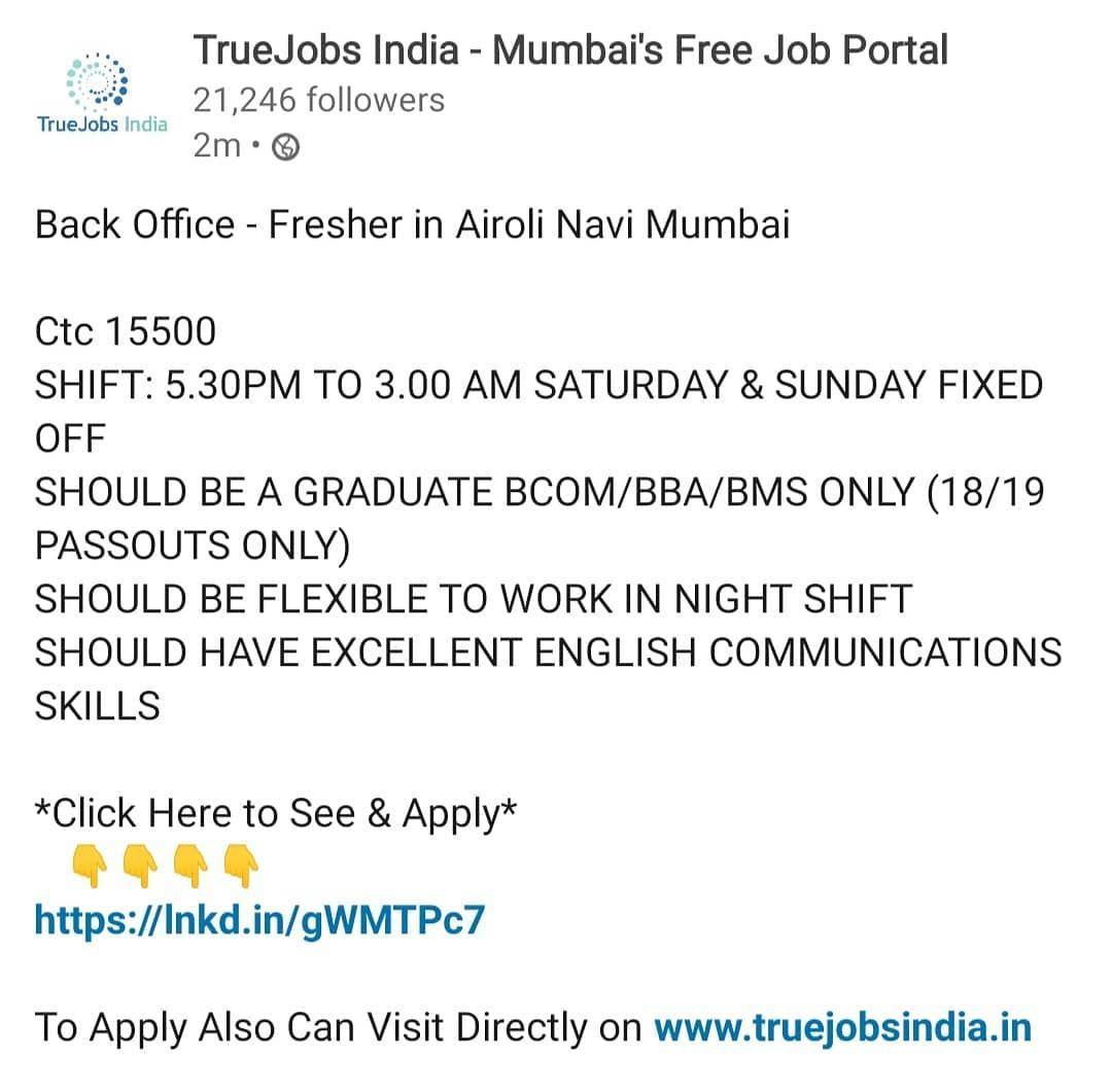 Back office fresher in mumbai job portal mumbai job