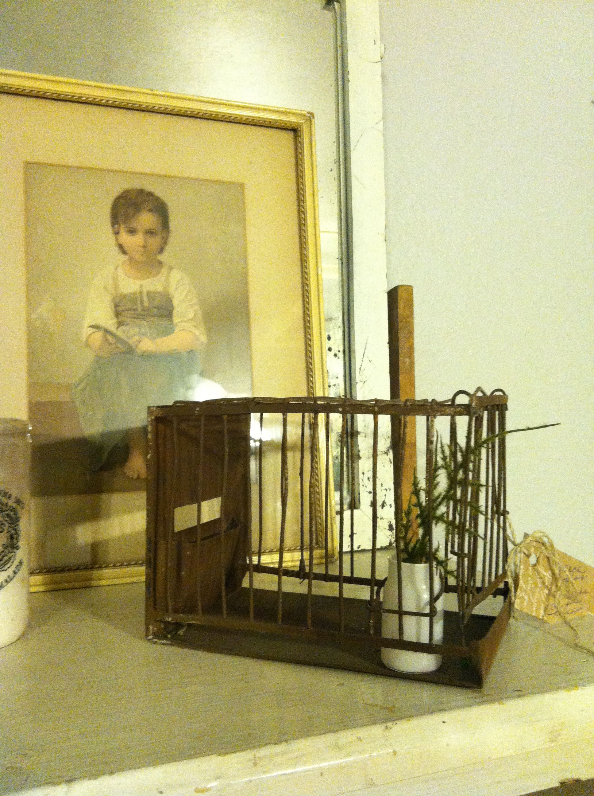 Tiny French bird cage from flea market there. A French Apartment...