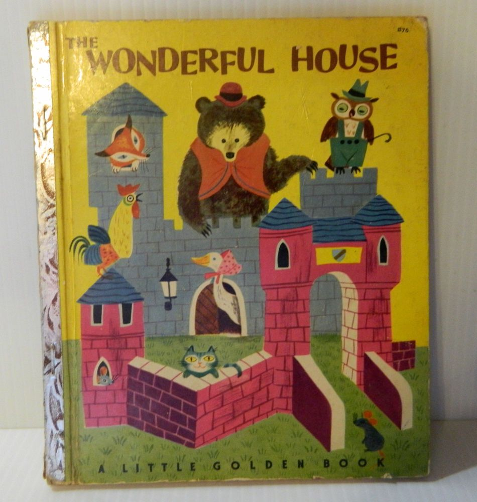 "VTG 1950 Little Golden Book ""The Wonderful House"" -""A"" edition     *HTF*"