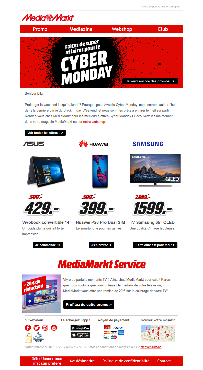 Cyber Monday Email From Media Markt With Recommendations Emailmarketing Email Marketing Cybermonday Cyber Monday Email Consumer Electronics Email Marketing