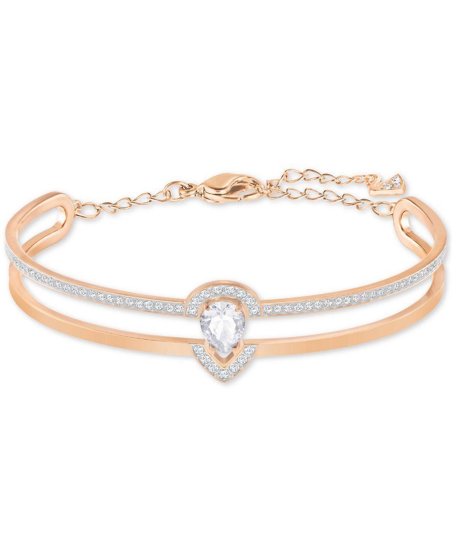 Swarovski rose goldtone pave double row bangle bracelet 手链