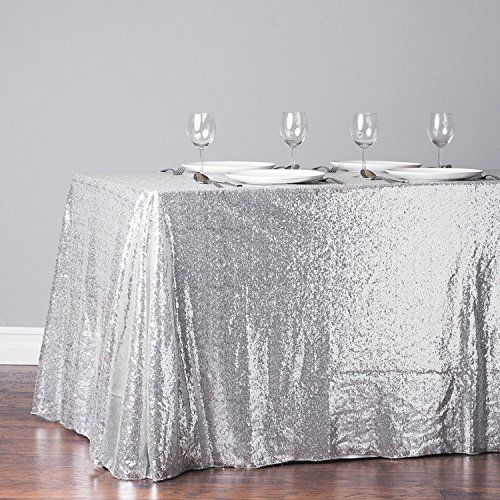 Trlyc 60 Inch By 120 Silver Sequin Rectangular Tablecloth Kitchen