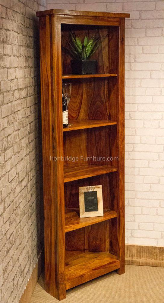 Corner Solid Wood Bookcase Display Unit Storage 5 Shelves Indian Sheesham Wood Sheesham Wood Wood Bookcase Bookcase