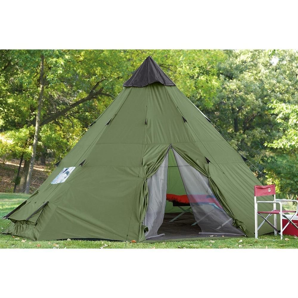 Huge Teepee Tent 18 X 18 Waterproof Canvas C&ers Survival Outdoor  sc 1 st  Pinterest : pop up teepee tent - memphite.com