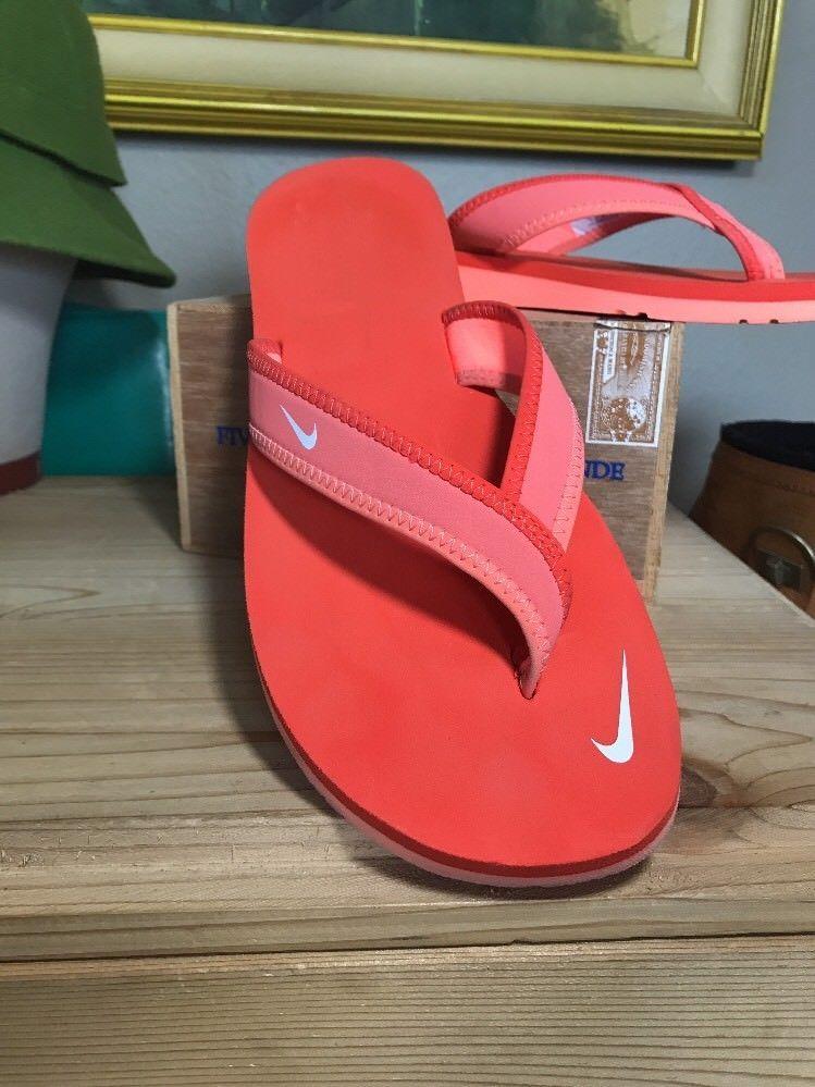 404c18ec654 Women s Sz 9 NIKE CELSO Coral Orange Neoprene Flip Flop Sandal Yoga Mat  Sole