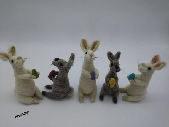 Needle Felted Easter Bunny - Easter Gift - Spring Decoration - Gift for Child #needlefeltedbunny