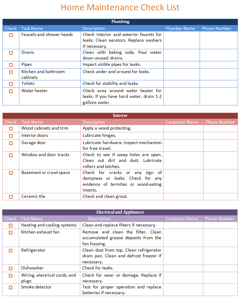 Home Maintenance Schedule And Task List  Templates For Office