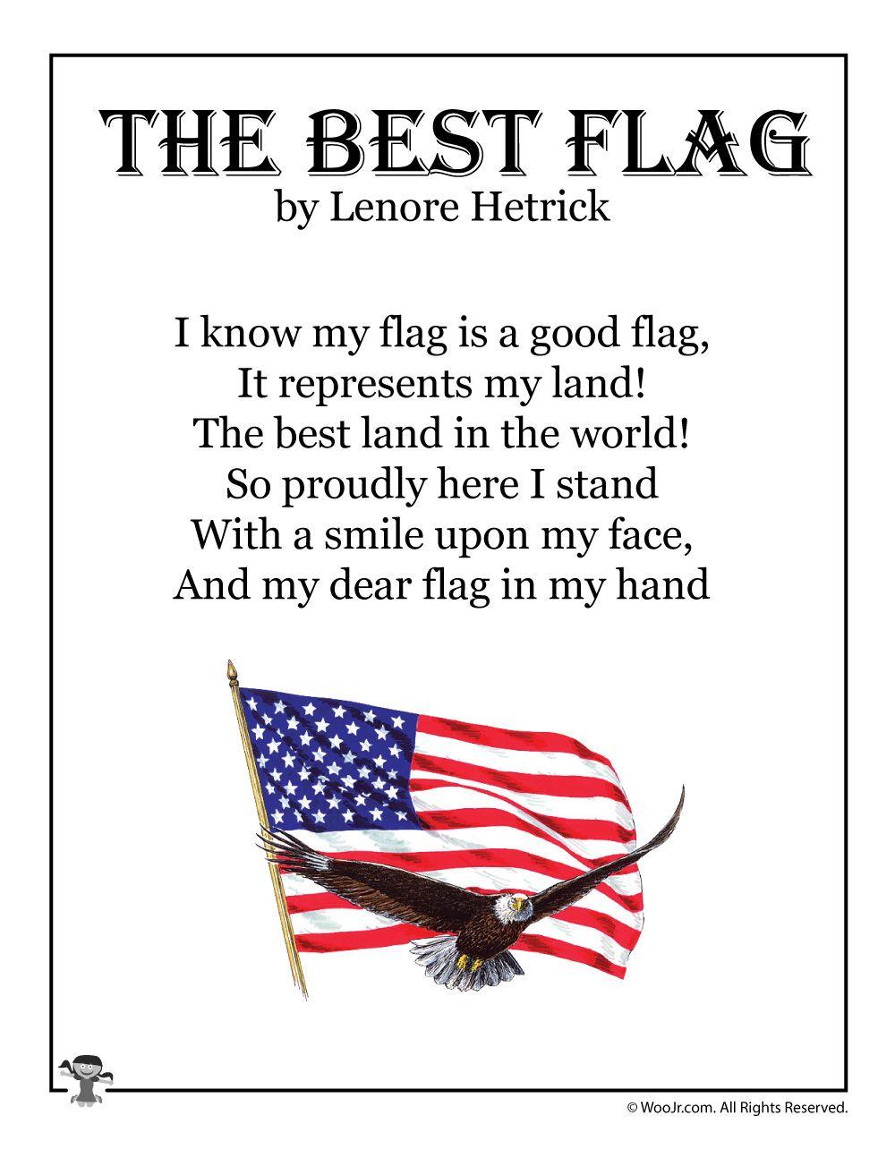 The Best Flag Poem For Children Woo Jr Kids Activities Kids Poems Kindergarten Poems Best Flags [ 1294 x 1000 Pixel ]