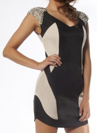 Ace of Base Dress #Studs #Body-con #Mini #Black #capsleeves #ustrendy