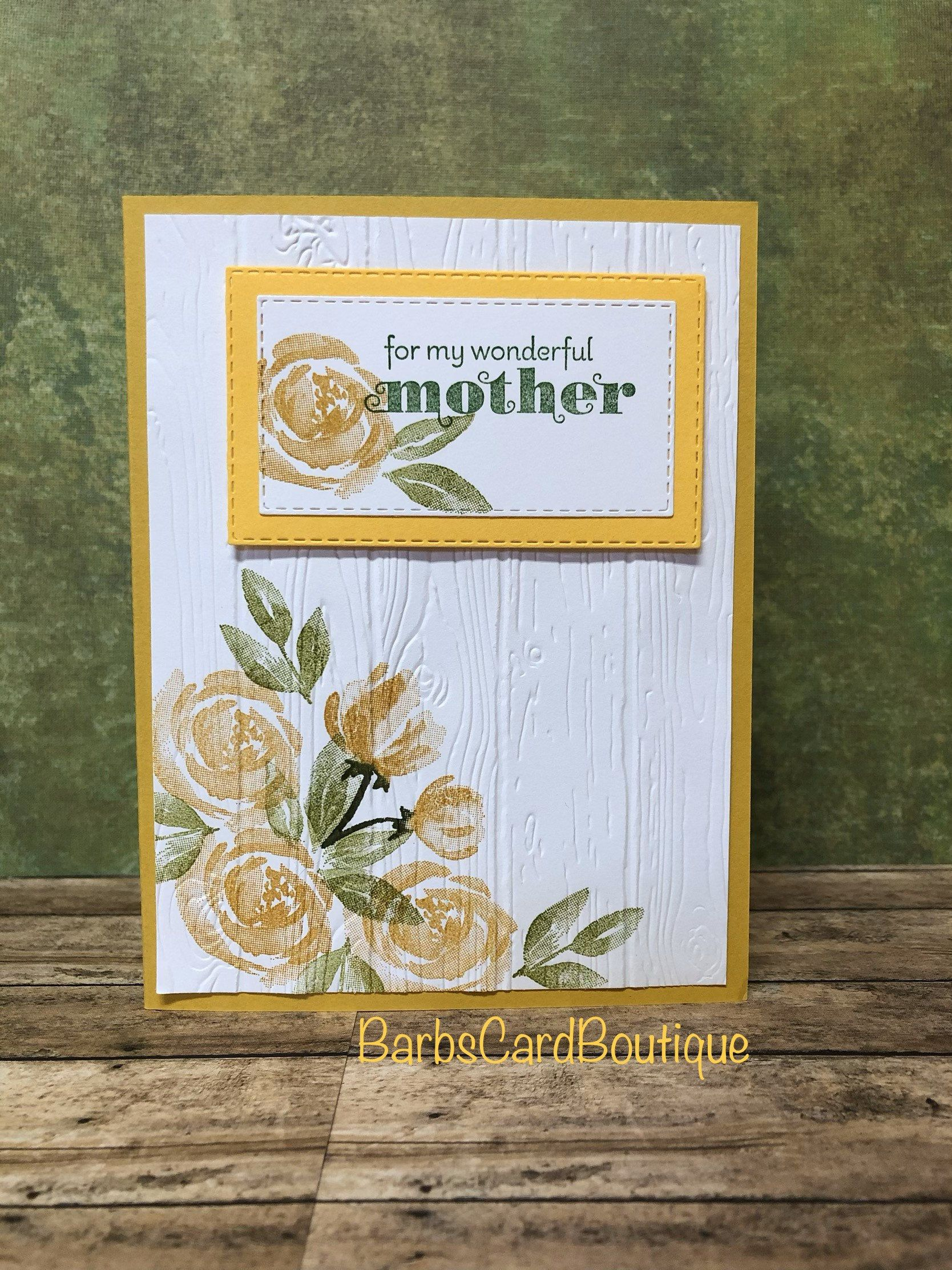 mother's day card hand stamped card handmade card card
