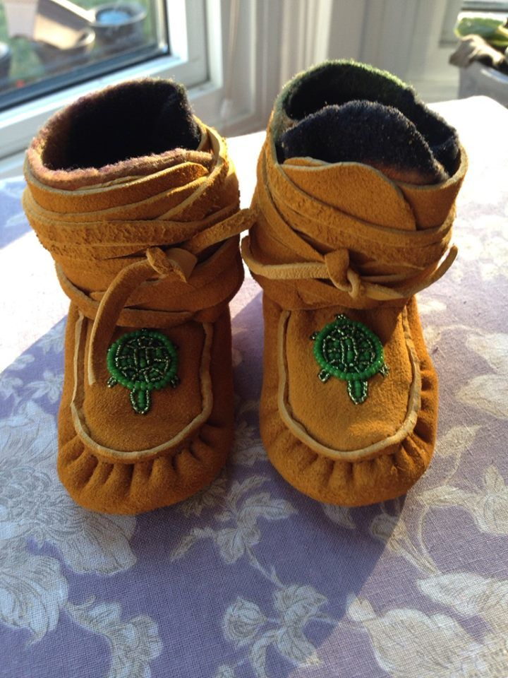 Authentic Handmade Baby Moccasins Wrap Around Moccasins Leather