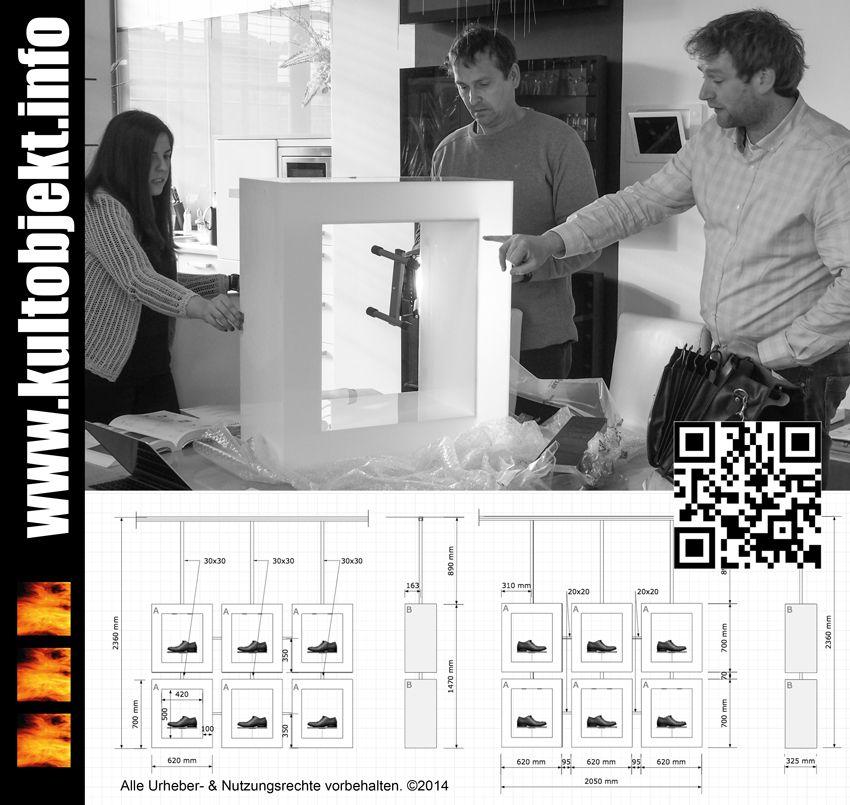Bemusterung eines Systemelements für ein neues LED-beleuchtetes Schaufenster-Präsentationssystem.   www.kultobjekt.info