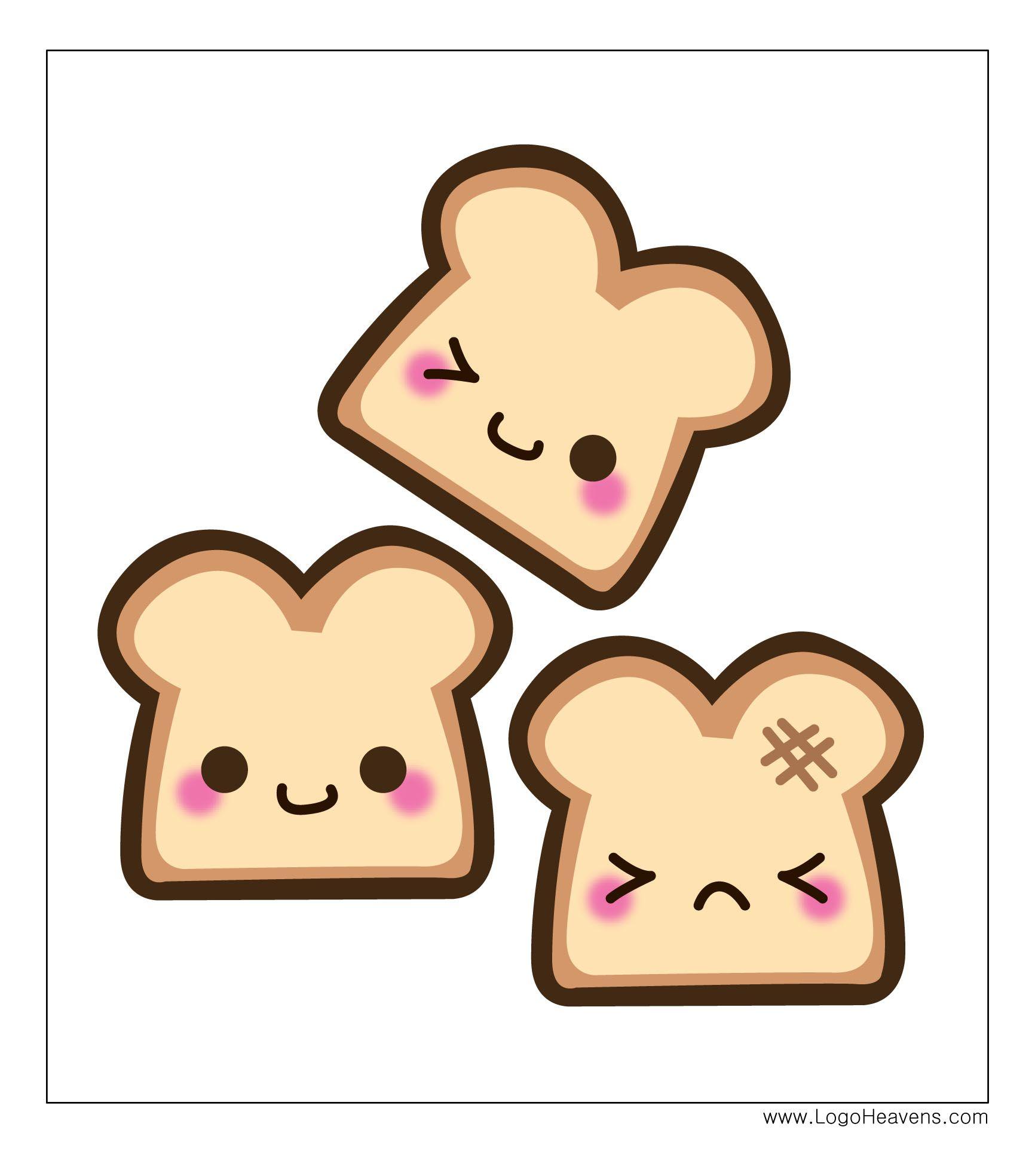 Kawaii Bread Free Illustration Vector File Cute kawaii