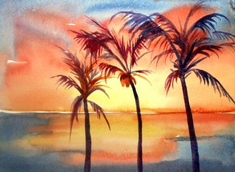 Tropical Sunset Watercolor Painting By Artist Meltem Kilic