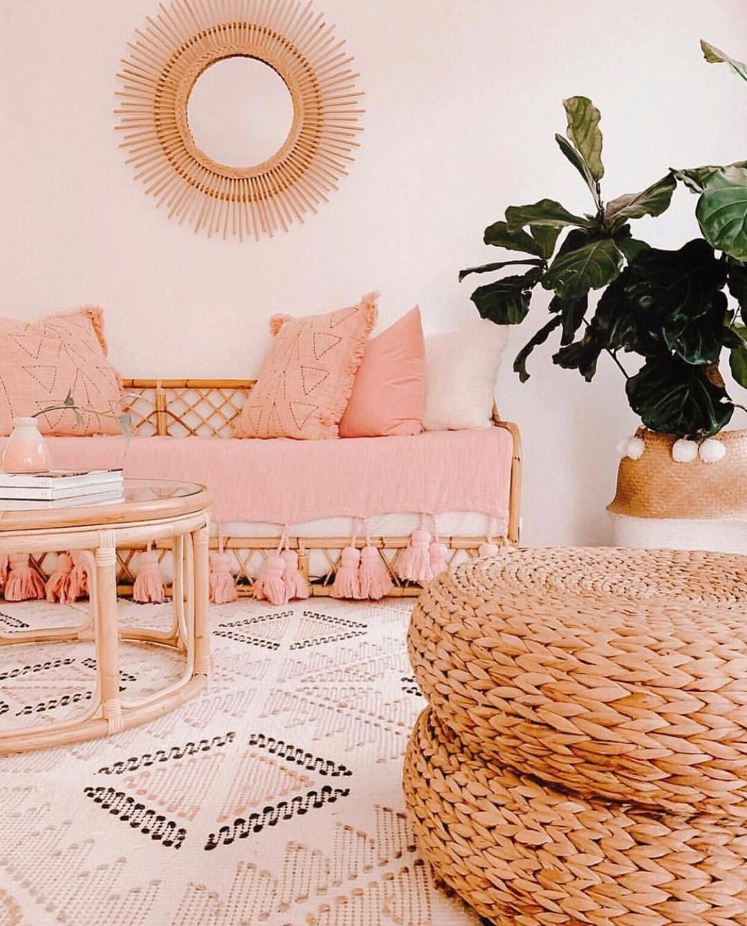 Some Facts About Home Improvement Loans Rattan Furniture Living Room Boho Living Room Peach Living Rooms Peach living room decor