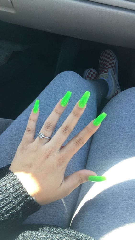 Slimey Neon Green Nails Green Acrylic Nails Lime Green Nails