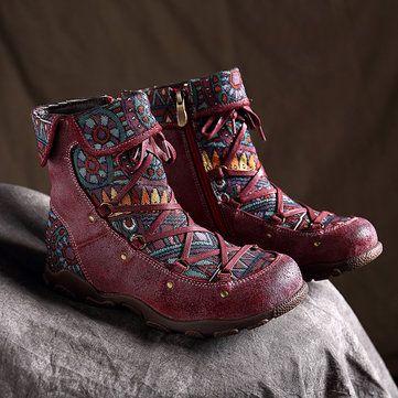 Zipper Big Head Flat Boots