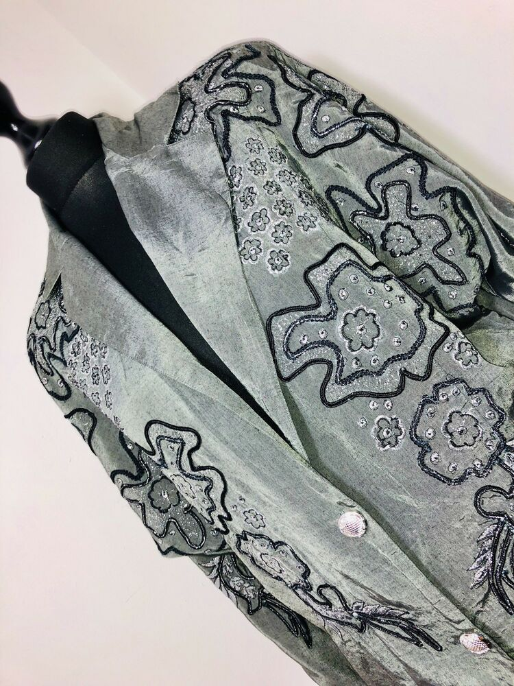 Details About Silver Grey Oversized Blouse 80s Retro Vintage Glam