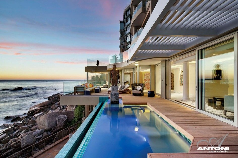 Architecture Small Outdoor Infinity Pool With Ocean View And Wooden Floor Plus Sculpture Glass Railings Black Drum Tabl Mansions Architecture Building A House