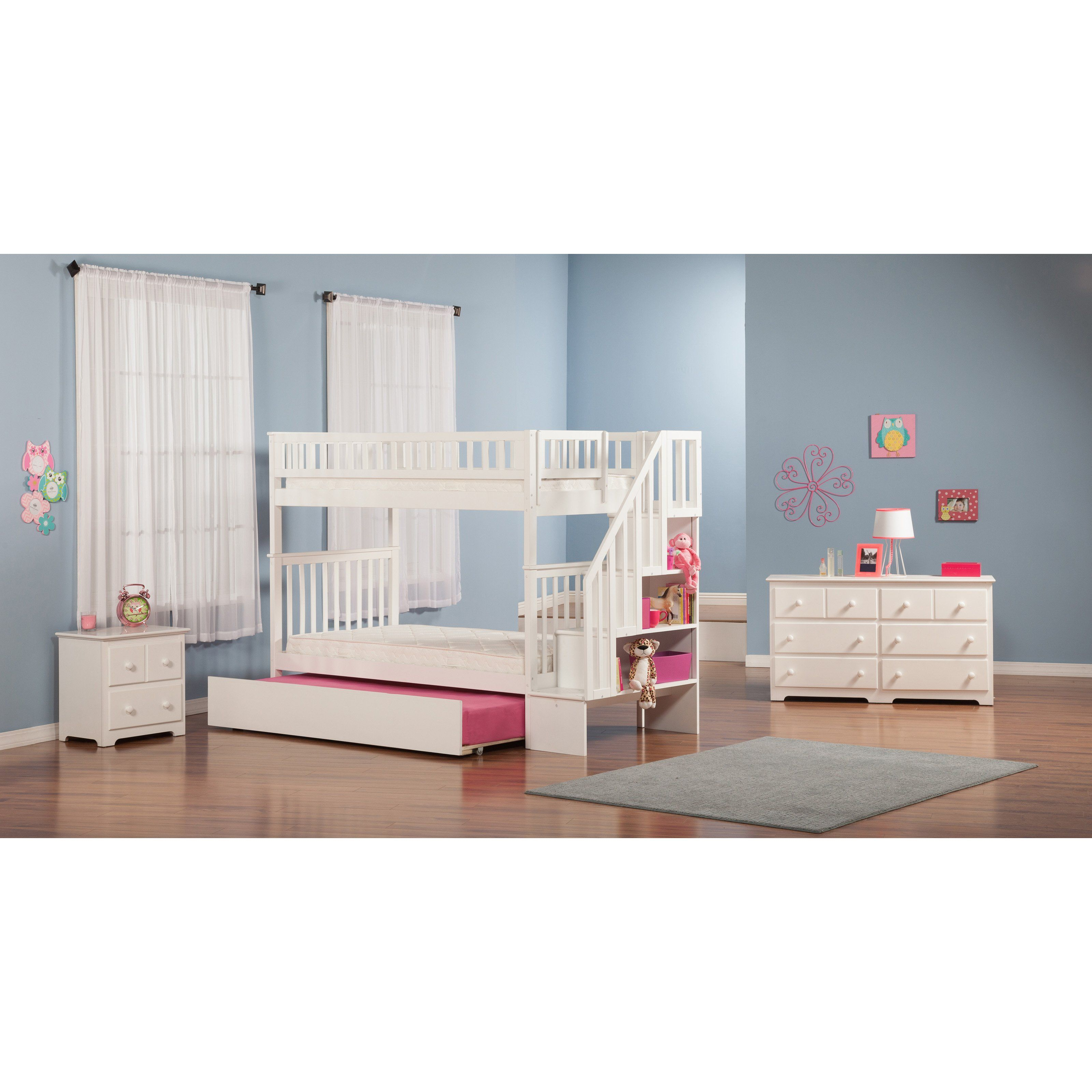Woodland Twin Over Twin Staircase Bunk Bed With Images Twin