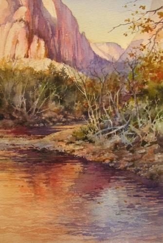 UTAH LANDSCAPES - Zion's River Painting of Zion National Park , Watercolor Painting of Zion National Park - Watercolor Paintings by Roland Lee