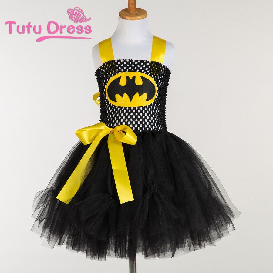 Batman Black Yellow Tutu Dress Kids Girls Ball Gown 2T,3T,4T,5,6,7,8 ...