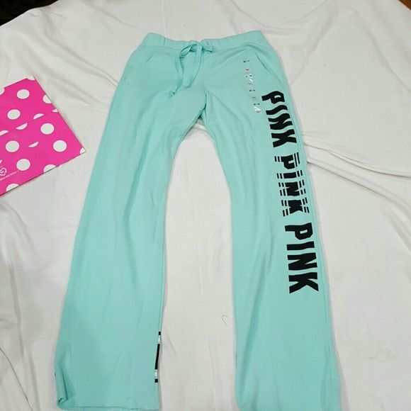 NWTGS BABY BLUE (SOLD OUT) BF PANT XS/? MORE PICS OF THESE PANTS!  SEEMS IT'S HARD TO GET ALL DETAILING BACK HAS NWTGS ON IT  PINK PINK PINK DOWN LEFT LEG RIGHT LEG HAS MORE THICKER STRIPES! DRAWSTRING ELASTIC WAIST/  SLASH POCKETS! TAG SAYS XS BUT BF STYLE RUN BIGGER SEE OFFER SCALE BUNDLE &  SAVE!  20%  OFF 2+  ITEMS victoria secret pink Pants Boot Cut & Flare
