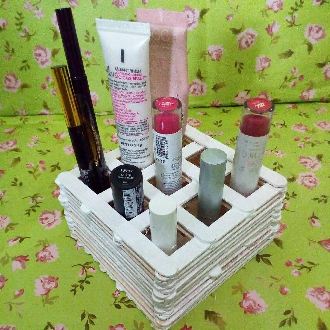 Membuat Tempat Makeup Dari Stik Es Krim Ide Kerajinan Ide Es Krim