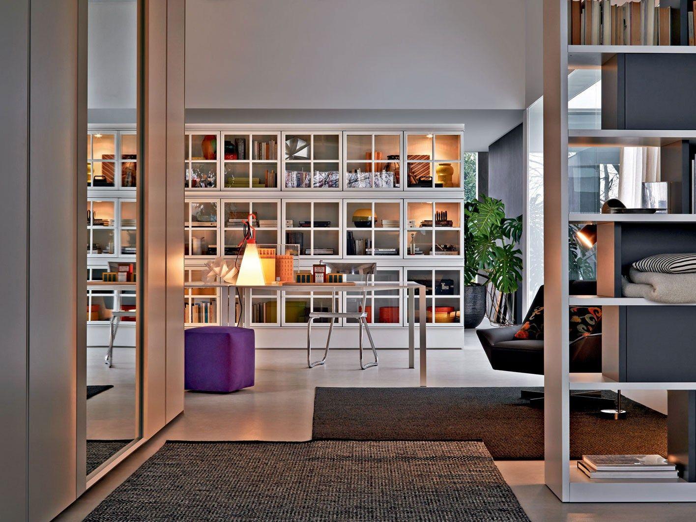 libreria a parete laccata in vetro piroscafo by molteni
