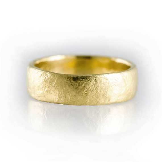 His or Her Gold Band His or Her Gold Ring Gold Ring for Him Rough