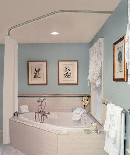 Trax Ceiling Mounted Shower Curtain Tracks Corner Tub Shower