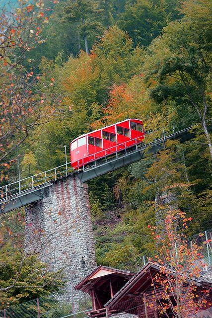 The Harderbahn Funicular, Interlaken, Switzerland. The Harderbahn is one of two funiculars that operate from the town of Interlaken to the mountain of Harder Kulm, in Switzerland.