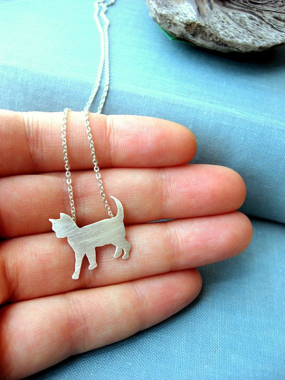 sterling silver chain Kitty /& red heart necklace matte silver plated cat charm