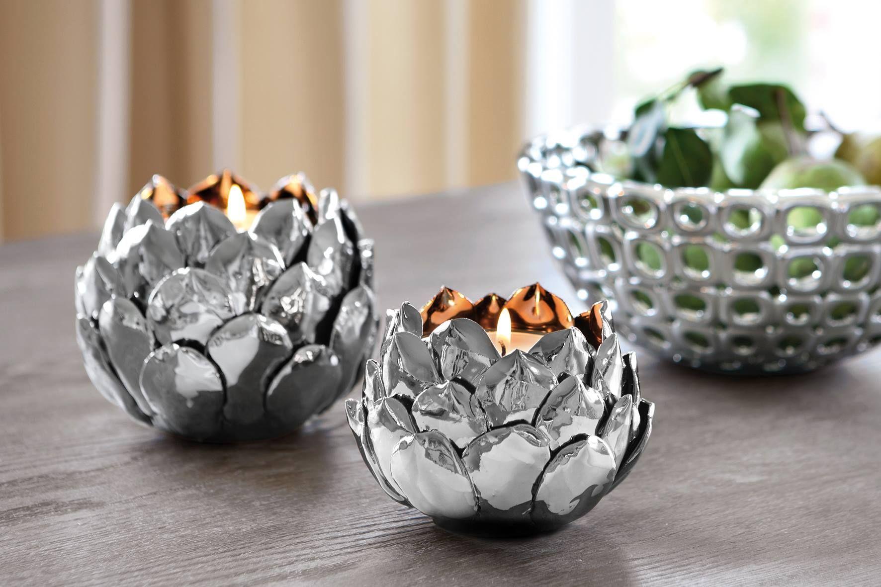 Kerzen kerzenhalter silber dekoration deko for Silber dekoration