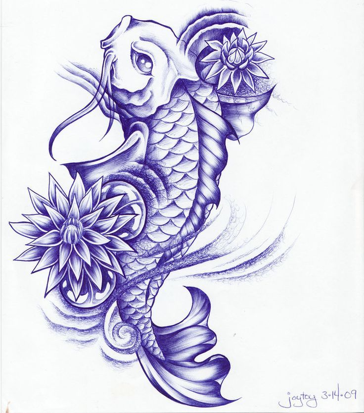 Koi Fish With Lotus Flowers Tattoo Design Made With Ball Point Pen