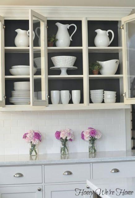 Beautiful Kitchen Cabinets Open Shelves / Black Inside. Like Images